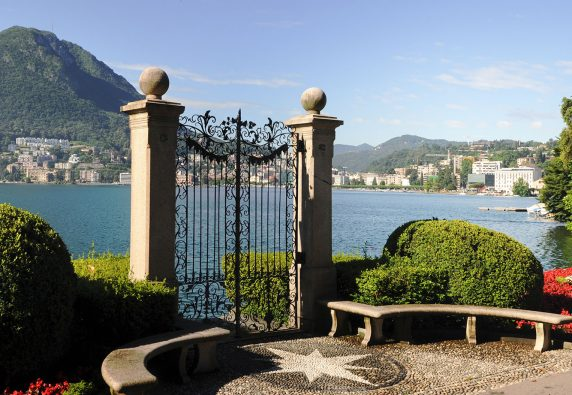 Lugano, Switzerland - View of the gulf from the botanical garden of the city
